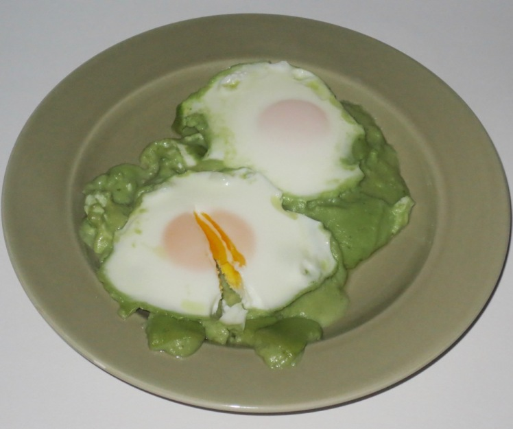 eggs in basil goat cheese sauce