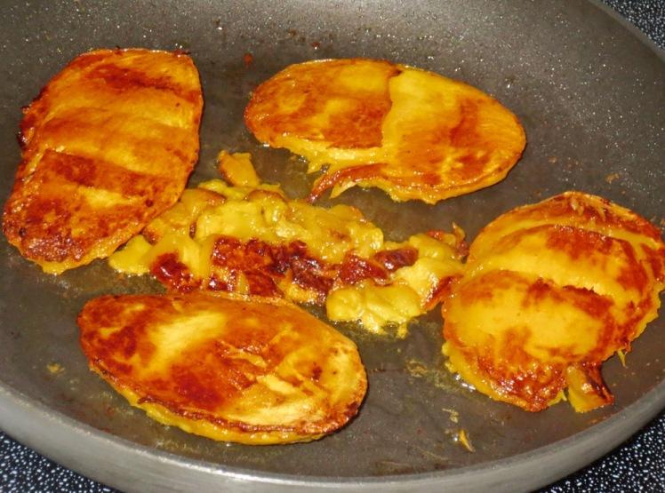 caramelized mango on waffles