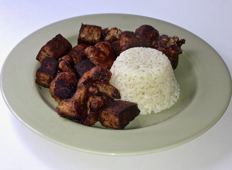 marinated tofu and cauliflower