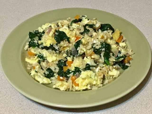 brown rice / spinach scramble