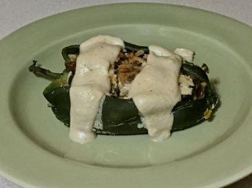 eggplant stuffed poblano peppers