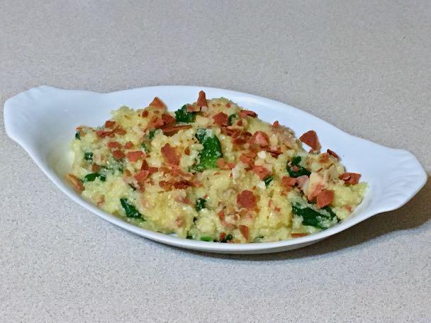 polenta with bacon & spinach
