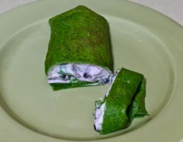 spinach crepes with blueberry cream cheese filling