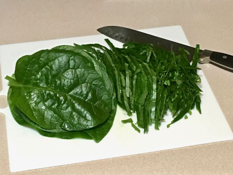 Malabar spinach crepes