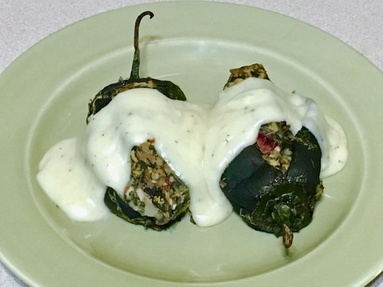 Potato & Spinach Stuffed Poblanos With Dill Cheddar White Sauce