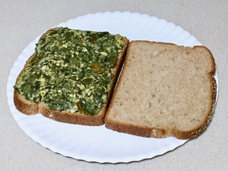 Spinach and cheese egged sandwich