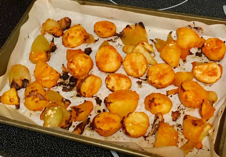 red chili roasted potatoes & onions