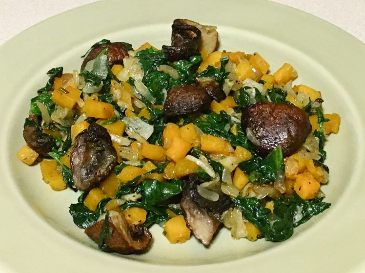 spinach with roasted mushrooms and pumpkin