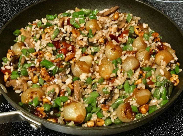 green beans, pearl onions & black walnuts