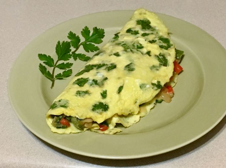 mushrooms & spinach omelet