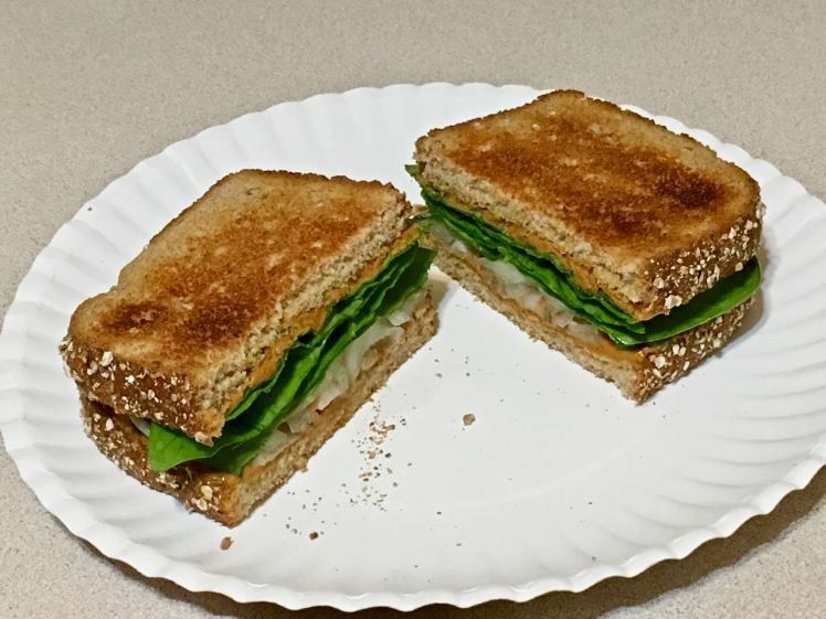 peanut butter, pickled onion & spinach sandwich