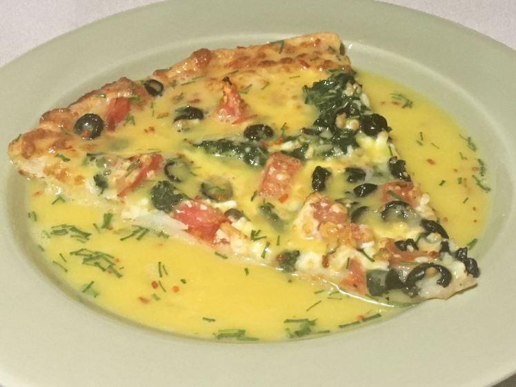 egged leftover pizza