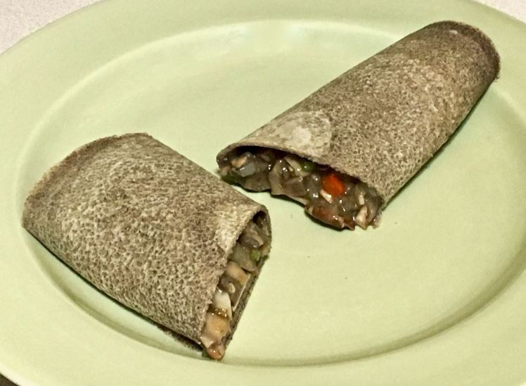 millet crepes with mushroom filling