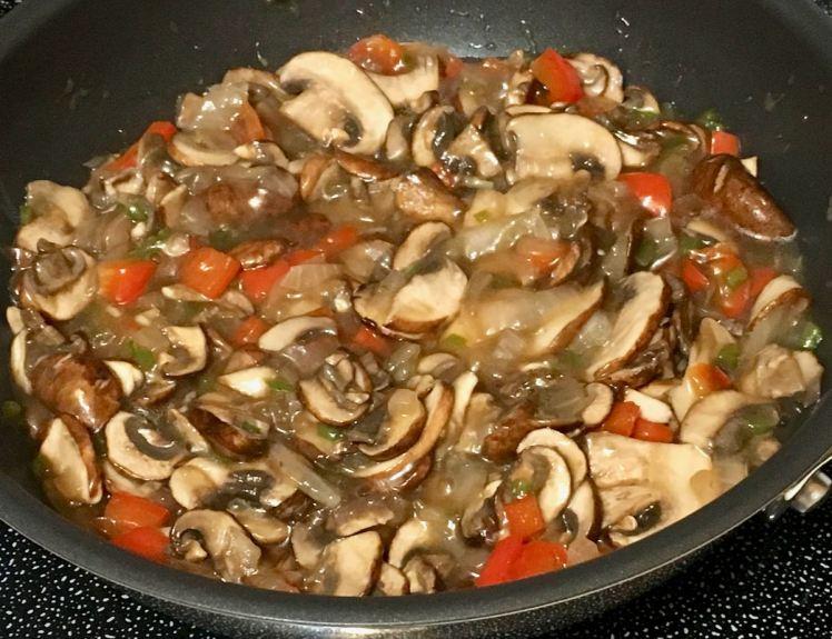 millet crepes with mushroom filling