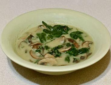 mushroom/spinach/coconut soup