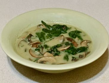 mushroom/spinach/coconut soup