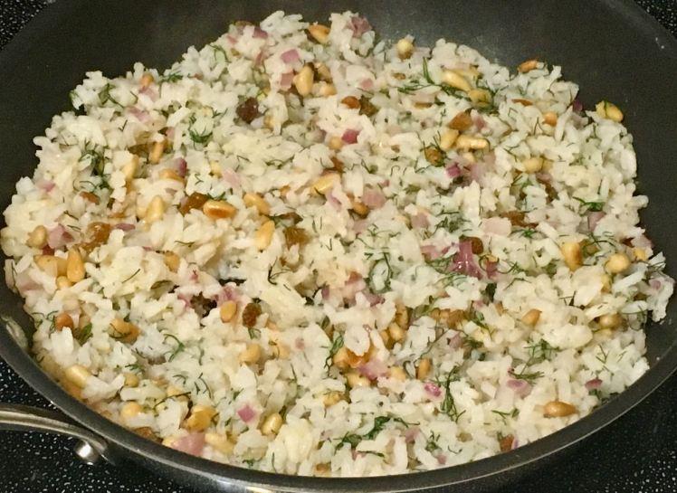 Swiss chard, dilled rice & arugula avocado salad
