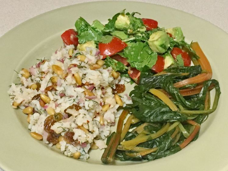 Swiss chard, dilled rice & arugula avocado salad