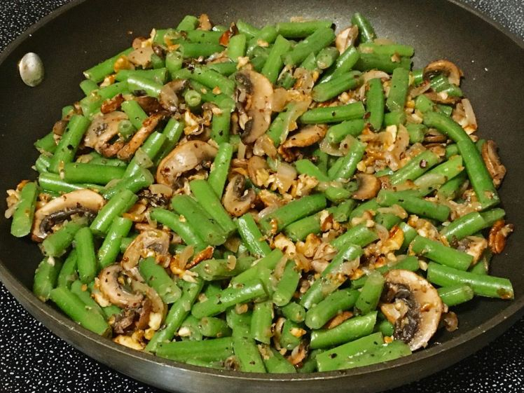 green beans with hickory nuts & mushrooms
