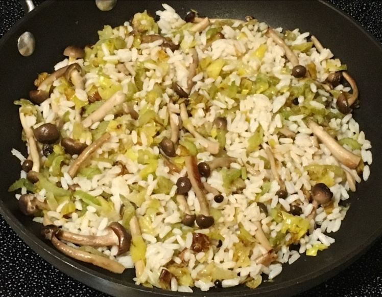 Leeks, celery, mushrooms and rice
